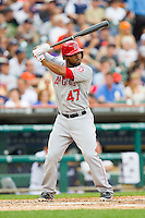 Howie Kendrick (47) of the Los Angeles Angels at bat against the Detroit Tigers at Comerica Park on June 25, 2013 in Detroit, Michigan.  The Angels defeated the Tigers 14-8.  (Brian Westerholt/Four Seam Images)