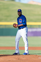 AZL Cubs 1 starting pitcher Yunior Perez (62) gets ready to deliver a pitch during an Arizona League playoff game against the AZL Rangers at Sloan Park on August 29, 2018 in Mesa, Arizona. The AZL Cubs 1 defeated the AZL Rangers 8-7. (Zachary Lucy/Four Seam Images)
