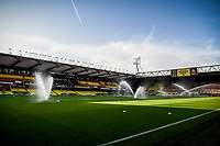 7th November 2020; Vicarage Road, Watford, Hertfordshire, England; English Football League Championship Football, Watford versus Coventry City; The sprinklers water the pitch at Vicarage Road ahead of kick off.