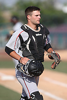 Ryan Miller (20) of the Lake Elsinore Storm in the field during a game against the Inland Empire 66ers at San Manuel Stadium on May 27, 2015 in San Bernardino, California. Lake Elsinore defeated Inland Empire, 12-9. (Larry Goren/Four Seam Images)