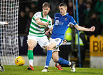 St Johnstone v Celtic…..29.01.20   McDiarmid Park   SPFL<br />Wallace Duffy is tackled by Kristoffer Ajer<br />Picture by Graeme Hart.<br />Copyright Perthshire Picture Agency<br />Tel: 01738 623350  Mobile: 07990 594431