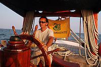 """- campaign """"Green Schooner"""" for pollution monitoring in Italian seas waters, organized by enviromentalist association """"Legambiente""""; on board of schooner """"Catholica"""" (year of construction 1936)..- campagna """"Goletta Verde"""" per monitorare l'inquinamento delle acque nei mari organizzata dall'associazione ambientalista italiana """"Legambiente""""; a bordo della goletta """"Catholica"""" (anno di costruzione 1936)"""