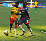 08 July 09: Grenada's Kithson Bain (10) and Haiti's Frantz Gilles (3) work for the ball during their match at the CONCACAF Gold Cup at RFK Stadium in Washington, DC.