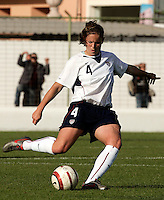 Cat Whitehill sends the ball upfield during a Algarve Women's Cup soccer match between USA and China at the Silves Stadium in Silves, Portugal, March 7, 2007. USA won 2-1.