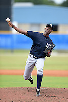 GCL Yankees 2 pitcher Domingo Acevedo (41) delivers a pitch during a game against the GCL Blue Jays on July 2, 2014 at the Bobby Mattick Complex in Dunedin, Florida.  GCL Yankees 2 defeated GCL Blue Jays 9-6.  (Mike Janes/Four Seam Images)