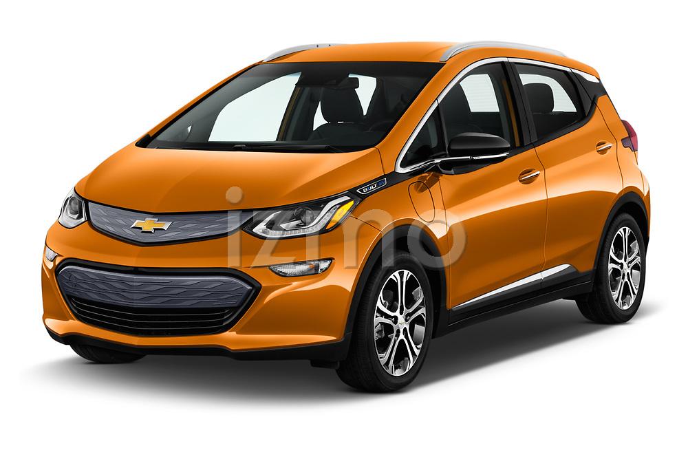 2017 Chevrolet Bolt-EV Premier 5 Door Hatchback Angular Front stock photos of front three quarter view