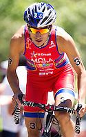 02 JUN 2013 - MADRID, ESP - Mario Mola (ESP) of Spain on the bike during the men's ITU 2013 World Triathlon Series round in Casa de Campo, Madrid, Spain (PHOTO (C) 2013 NIGEL FARROW)