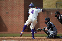 Peyton Carr (41) of the High Point Panthers at bat against the Bryant Bulldogs at Williard Stadium on February 21, 2021 in  Winston-Salem, North Carolina. The Panthers defeated the Bulldogs 3-2. (Brian Westerholt/Four Seam Images)