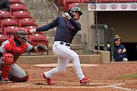 Cedar Rapids Kernels left fielder Jacob Pearson (2) swings at a pitch against the Burlington Bees at Veterans Memorial Stadium on April 14, 2019 in Cedar Rapids, Iowa.  The Bees won 6-2.  (Dennis Hubbard/Four Seam Images)