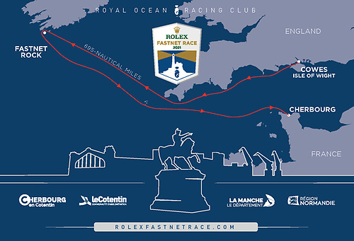 The route of the 2021 Rolex Fastnet Race from Cowes to Cherbourg-en-Cotentin via the Fastnet Rock - 695nm © RORC