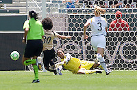 LA Sol's goalkeeper Karina Le Blanc makes a save on advancing FC Gold Pride's Erika Arakawa battle. The LA Sol defeated FC Gold Pride of the Bay Area 1-0 at Home Depot Center stadium in Carson, California on Sunday April 19, 2009.  .