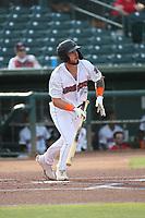 Braxton Martinez (23) of the Inland Empire 66ers bats against the Lake Elsinore Storm at San Manuel Stadium on July 25, 2021 in San Bernardino, California. (Larry Goren/Four Seam Images)