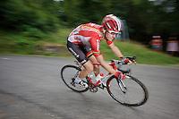 Adam Hansen (AUS/Lotto-Soudal) descending the Col de Chaussy (C1/1533m/14.4km@6.3%)<br /> <br /> stage 19: St-Jean-de-Maurienne - La Toussuire / Les Sybelles   (138km)<br /> Tour de France 2015