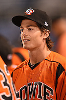 Bowie Baysox outfielder Mike Yastrzemski (18) in the dugout during a game against the Binghamton Mets on August 3, 2014 at NYSEG Stadium in Binghamton, New York.  Bowie defeated Binghamton 8-2.  (Mike Janes/Four Seam Images)
