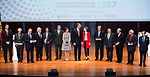 King Felipe VI of Spain and Queen Letizia with all the new ambassadors during the delivery of the accreditations to the new ambassadors of the Marca España 2017 at Reina Sofia Museum in Madrid. March 14, 2017. (ALTERPHOTOS/Borja B.Hojas)