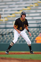 Bradenton Marauders shortstop Cole Tucker (18) leads off first during a game against the Fort Myers Miracle on August 3, 2016 at McKechnie Field in Bradenton, Florida.  Bradenton defeated Fort Myers 9-5.  (Mike Janes/Four Seam Images)