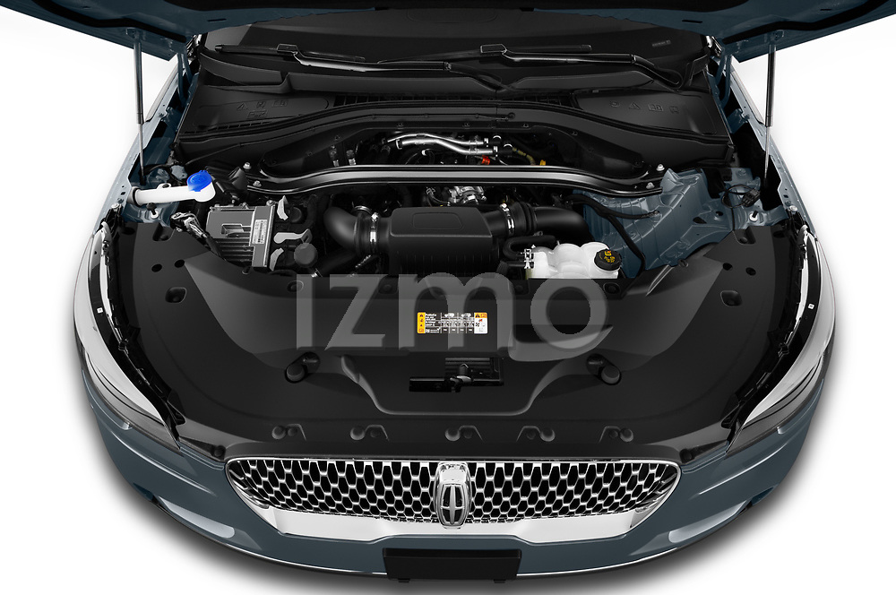 Car Stock 2021 Lincoln Aviator - 5 Door SUV Engine  high angle detail view