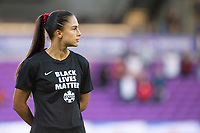 ORLANDO, FL - FEBRUARY 21: Jordyn Listro #21 of the CANWNT stands for the anthem before a game between Argentina and Canada at Exploria Stadium on February 21, 2021 in Orlando, Florida.