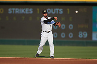 Charlotte Knights second baseman Marco Hernandez (11) on defense against the Nashville Sounds at Truist Field on June 4, 2021 in Charlotte, North Carolina. (Brian Westerholt/Four Seam Images)