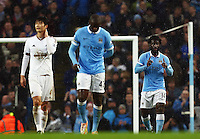 Wilfried Bony of Manchester City celebrates scoring the opening goal during the Barclays Premier League match between Manchester City and Swansea City played at the Etihad Stadium, Manchester on December 12th 2015