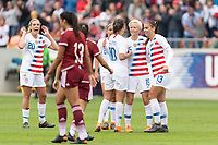 Houston, TX - Sunday April 08, 2018: Carli Lloyd, Megan Rapinoe, Alex Morgan during an International Friendly soccer match between the USWNT and Mexico at BBVA Compass Stadium.