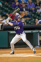 TCU Horned Frogs outfielder Cody Jones #1 at bat during the NCAA baseball game against the Rice Owls on March 1, 2014 during the Houston College Classic at Minute Maid Park in Houston, Texas. Rice defeated TCU 1-0. (Andrew Woolley/Four Seam Images)