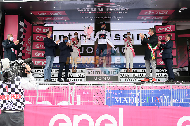 Race leader Filippo Ganna (ITA) also retains the young riders Maglia Bianca at the end of Stage 3 of the 2021 Giro d'Italia, running 190km from Biella to Canale, Italy. 10th May 2021.<br /> Picture: LaPresse/Gian Mattia D'Alberto   Cyclefile<br /> <br /> All photos usage must carry mandatory copyright credit (© Cyclefile   LaPresse/Gian Mattia D'Alberto)