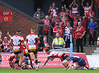 9th October 2021; Kingsholm Stadium, Gloucester, England; Gallagher Premiership Rugby, Gloucester versus Sale Sharks;  Louis Rees-Zammit of Gloucester scores a try
