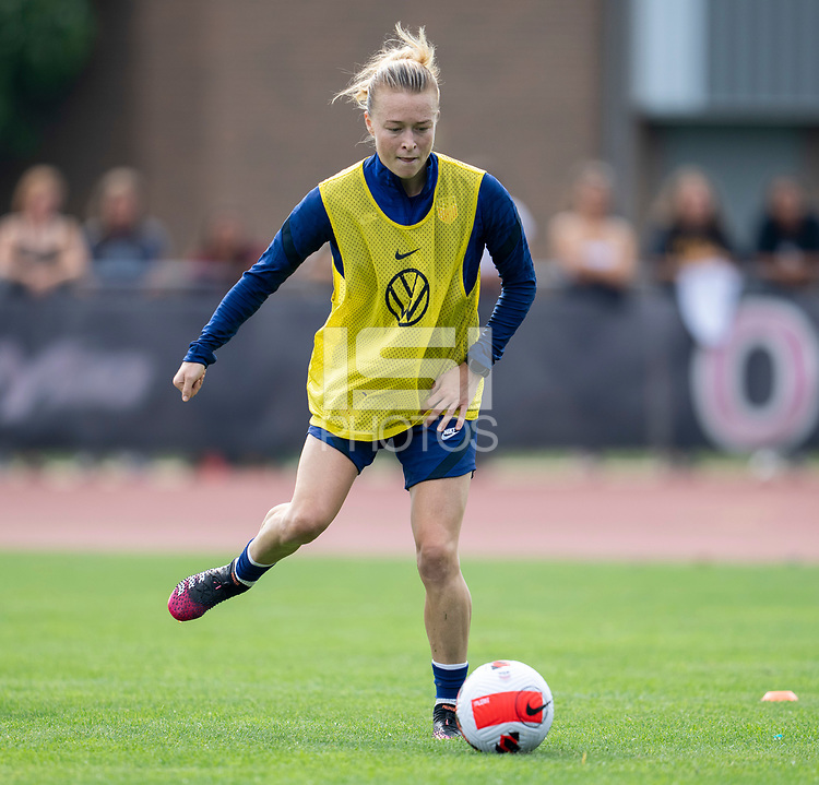 CLEVELAND, OH - SEPTEMBER 14: Emily Sonnett of the United States passes the ball during a training session at the training fields on September 14, 2021 in Cleveland, Ohio.