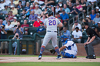 AFL East first baseman Peter Alonso (20), of the Scottsdale Scorpions and the New York Mets organization, at bat in front of catcher Keibert Ruiz (17) and home plate umpire Adam Beck during the Fall Stars game at Surprise Stadium on November 3, 2018 in Surprise, Arizona. The AFL West defeated the AFL East 7-6 . (Zachary Lucy/Four Seam Images)