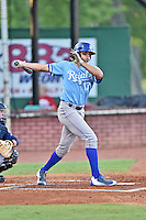 Burlington Royals left fielder Boo Vazquez (17) swings at a pitch during game against the Elizabethton Twins at Joe O'Brien Field on August 24, 2016 in Elizabethton, Tennessee. The Royals defeated the Twins 8-3. (Tony Farlow/Four Seam Images)