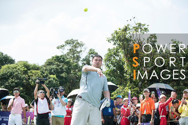 Yao Ming plays tennis at the 10th hole during the World Celebrity Pro-Am 2016 Mission Hills China Golf Tournament on 22 October 2016, in Haikou, China. Photo by Marcio Machado / Power Sport Images