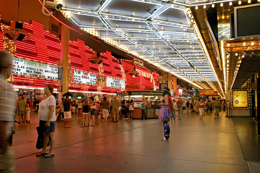 Evening lighting people at Fremont Street Experience Las Vegas Nevada