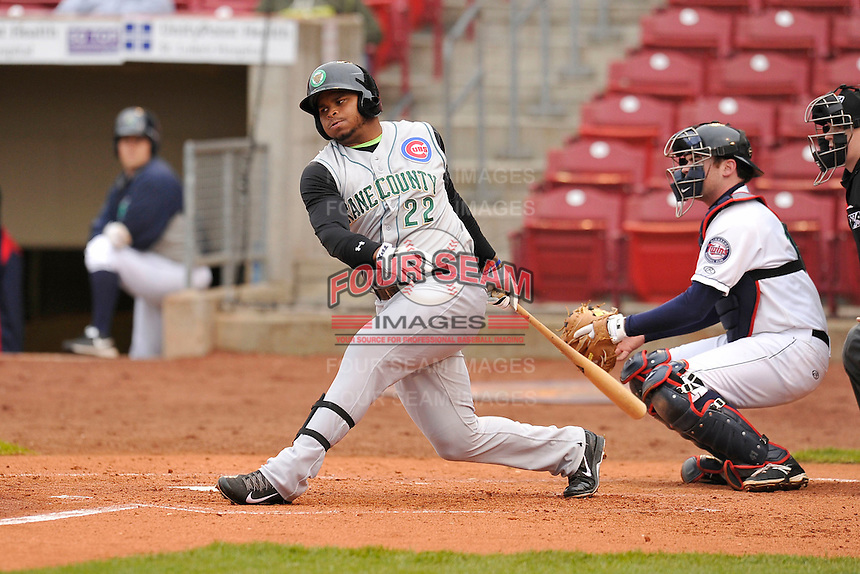 Yasiel Balaguert #22 of the Kane County Cougars swings against the Cedar Rapids Kernels at Perfect Game Field on May 1, 2014 in Cedar Rapids, Iowa. The Kernels won 5-2.   (Dennis Hubbard/Four Seam Images)