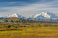 Denali and the moraine of the Muldrow glacier, autumn tundra, Denali National Park, Alaska.