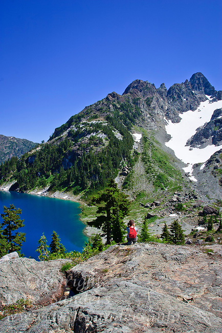 Cream Lake and Mount Septimus in Strathcona Provincial Park on Vancouver Island, British Columbia, Canada.