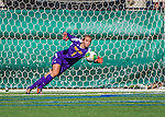 29 September 2013: University of Vermont Catamount Goalkeeper Morgan Nichols, a Senior from Concord, CA, makes a diving save against the Stony Brook University Seawolves at Virtue Field in Burlington, Vermont. The Lady Cats fell to the visiting Seawolves 2-1 in America East play. Mandatory Credit: Ed Wolfstein Photo *** RAW (NEF) Image File Available ***
