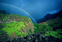 Kalalau Valley, Stream with rainbow.   Napali Coast, Kauai