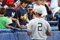 Staten Island Yankees shortstop Cito Culver #2 signs autographs before a game against the Batavia Muckdogs at Dwyer Stadium on July 28, 2011 in Batavia, New York.  Batavia defeated Staten Island 4-3.  (Mike Janes/Four Seam Images)