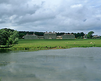 The Palladian splendour of Russborough House viewed from one or the ornamental lakes in the grounds