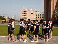 Photo: Richard Lane/Richard Lane Photography. London Wasps in Abu Dhabi for their LV= Cup game against Harlequins on 30th January 2011. 30/01/2011. Wasps carry out final preparations for the game during the walk though at the Emirates Palace Hotel.