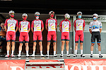 Cofidis team at sign on before Stage 3 of the Route d'Occitanie 2020, running 163.5km from Saint-Gaudens to Col de Beyrède, France. 3rd August 2020. <br /> Picture: Colin Flockton | Cyclefile<br /> <br /> All photos usage must carry mandatory copyright credit (© Cyclefile | Colin Flockton)
