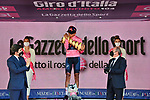 Race leader Maglia Rosa Egan Bernal (COL) Ineos Grenadiers wins the overall classification and hugs the Trofeo Senza Fine at the end of Stage 21 of the 2021 Giro d'Italia, an individual time trial running 30.3km from Senago to Milan, Italy. 30th May 2021.  <br /> Picture: LaPresse/Fabio Ferrari   Cyclefile<br /> <br /> All photos usage must carry mandatory copyright credit (© Cyclefile   LaPresse/Fabio Ferrari)