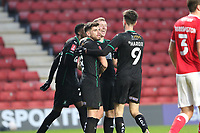 first goal scored for Plymouth Argyle by Luke Jephcott of Plymouth Argyle as he celebrates with his teammates during Charlton Athletic vs Plymouth Argyle, Emirates FA Cup Football at The Valley on 7th November 2020