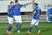 Lorenzo Pellegrini of Italy celebrates with Ciro Immobile and Chiellini after scoring a goal during the Uefa Nation League Group Stage A1 football match between Italy and Netherlands at Atleti azzurri d Italia Stadium in Bergamo (Italy), October, 14, 2020. Photo Andrea Staccioli / Insidefoto