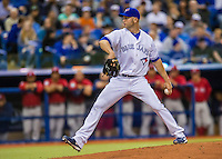 1 April 2016: Toronto Blue Jays pitcher J.A. Happ on the mound during a pre-season exhibition game against the Boston Red Sox at Olympic Stadium in Montreal, Quebec, Canada. The Red Sox defeated the Blue Jays 4-2 in the first of two MLB weekend games, which saw an attendance of 52,682 at the former home on the Montreal Expos. Mandatory Credit: Ed Wolfstein Photo *** RAW (NEF) Image File Available ***