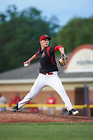 Batavia Muckdogs relief pitcher Remey Reed (32) delivers a pitch during a game against the Auburn Doubledays on June 19, 2017 at Dwyer Stadium in Batavia, New York.  Batavia defeated Auburn 8-2 in both teams opening game of the season.  (Mike Janes/Four Seam Images)