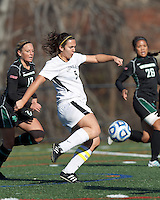 College of St Rose forward Carmelina Puopolo (5) on the attack. . In 2012 NCAA Division II Women's Soccer Championship Tournament First Round, College of St Rose (white) defeated Wilmington University (black), 3-0, on Ronald J. Abdow Field at American International College on November 9, 2012.