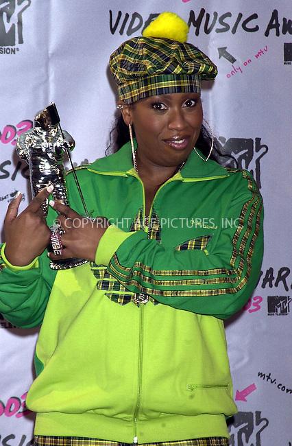 Missy Elliott at 2003 Video Music Awards. New York, August 28, 2003. Please byline: NY Photo Press.   ..*PAY-PER-USE*      ....NY Photo Press:  ..phone (646) 267-6913;   ..e-mail: info@nyphotopress.com
