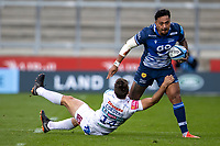 3rd October 2021; AJ Bell stadium, Eccles, Greater Manchester, England: Gallagher Premiership Rugby, Sale v Exeter ; Denny Solomona of Sale Sharks is tackled by Facundo Cordero of Exeter Chiefs